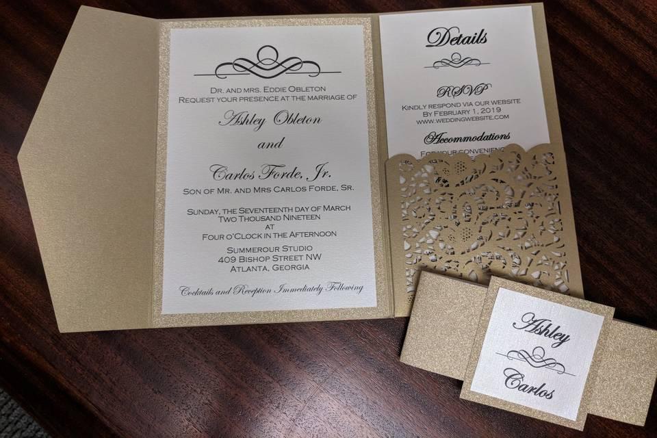 Laser cut pocket invitation