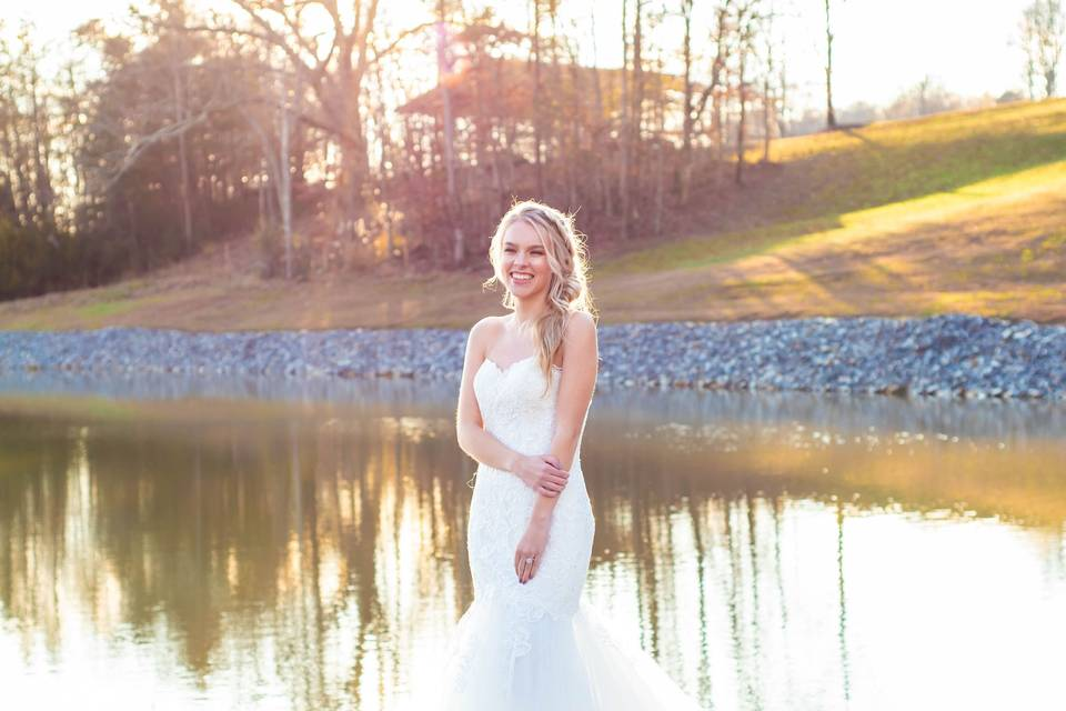Bride on a lake