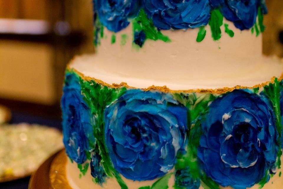 Blue hand painted wedding cake