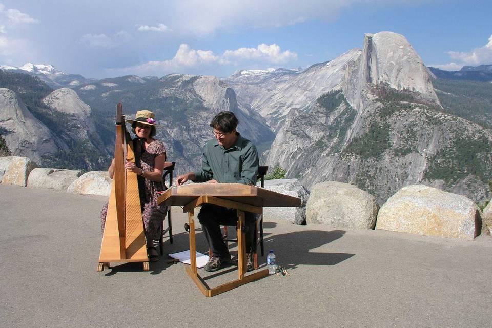 Outdoor wedding at Glacier Point, Yosemite National Park