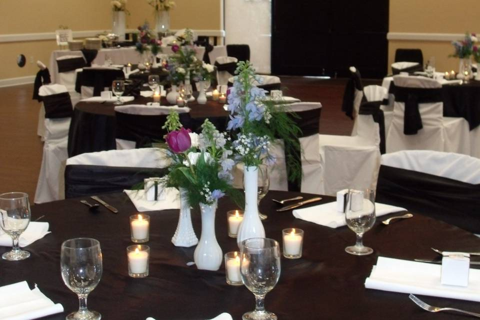 Black and white themed reception