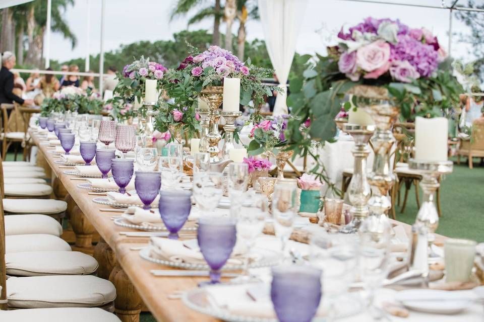 Tablescape with white and purple theme