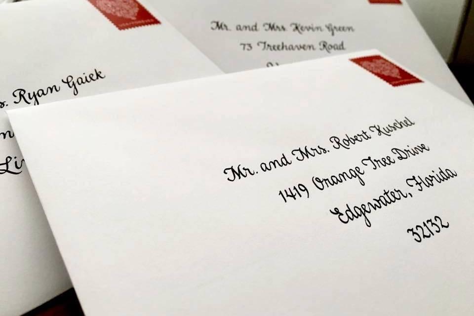 Invite envelopes addressed
