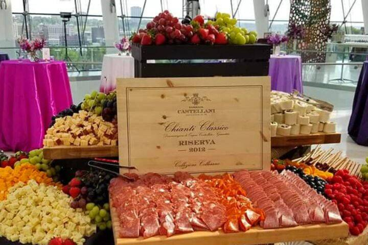 Meat, chees, and fruit display