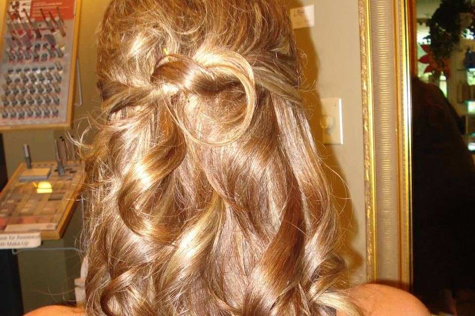 Curly half pony hairstyle