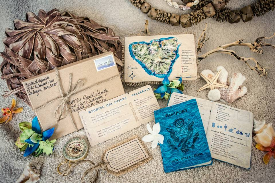 Destination Wedding Invitation Kit - complete with compass, luggage tag, airplane ticket, passport, and map. AWARD WINNING! 2012 ADDY Silver Award and 2012 ADDY Judges Choice Award