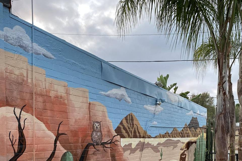 Desert scene mural