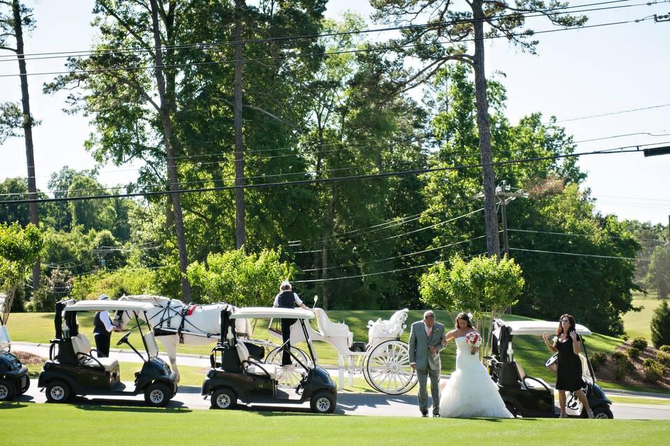 Golf cart entrance