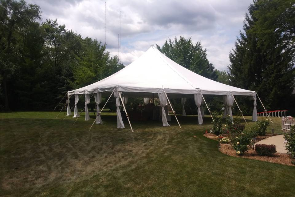 Tent with Pole Drapes