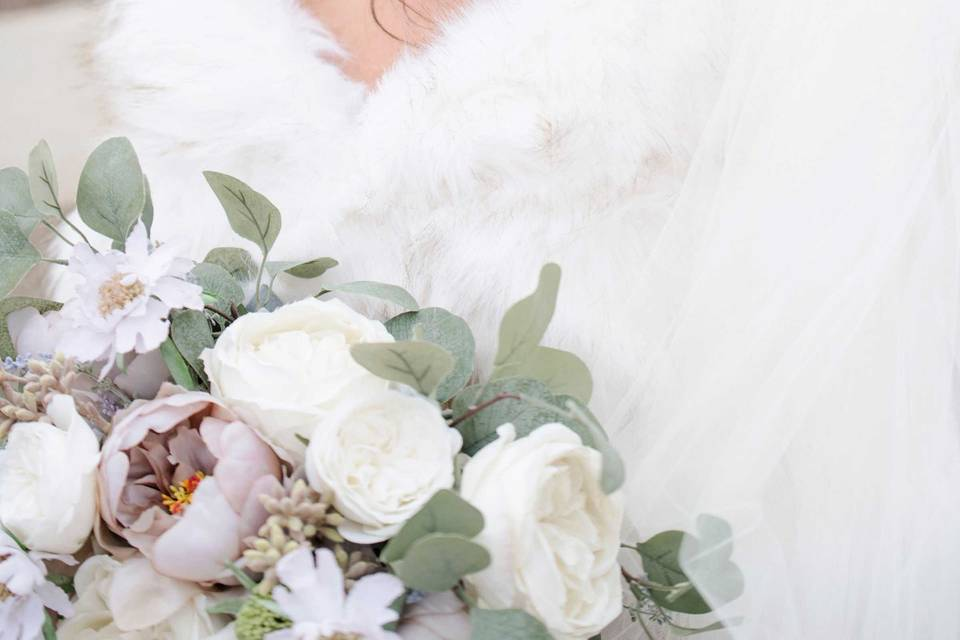 Newlywed and bouquet