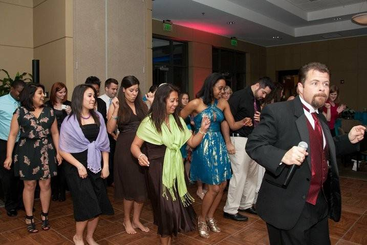 Group dance at a wedding reception at Greer City Hall- Greer, SC