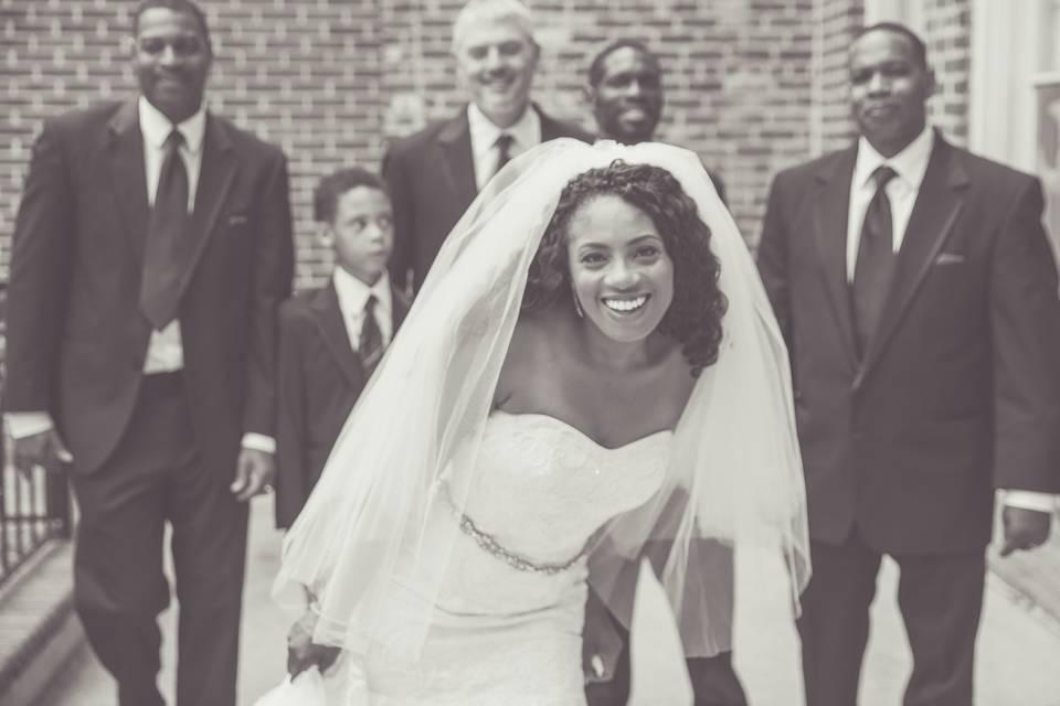 Bride jumps in Groom Shot
