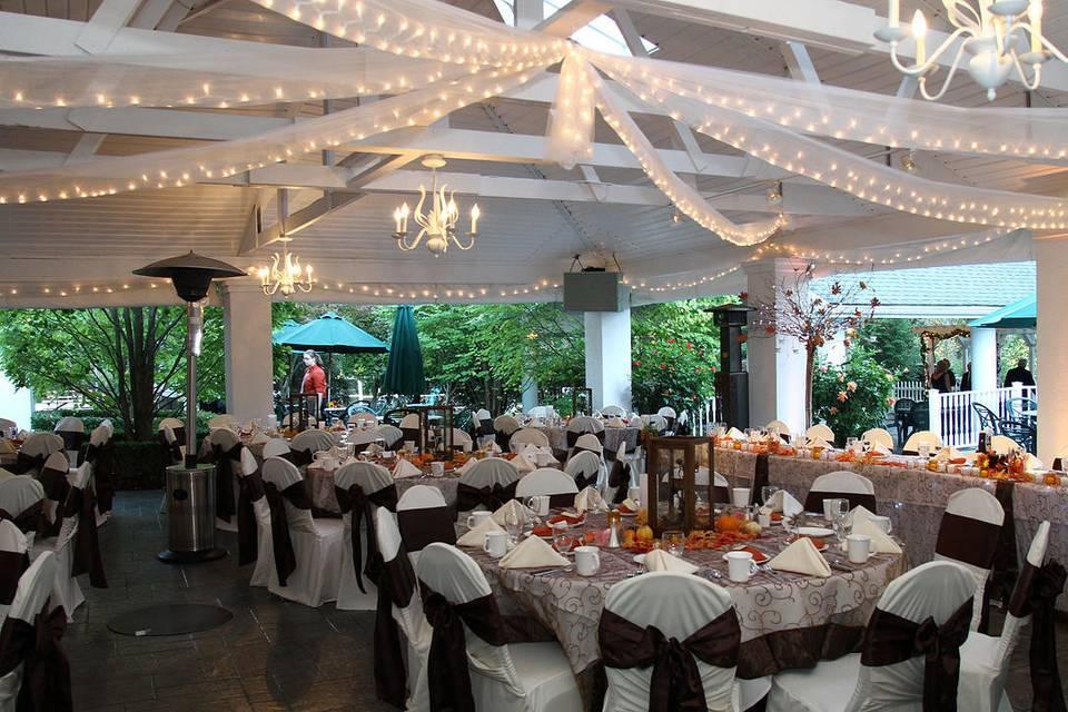 Kloc's Garden Pavilion set for dining