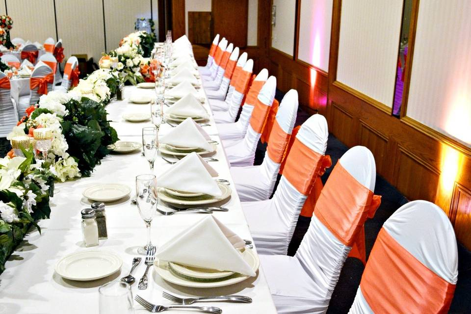Long table and coral decor