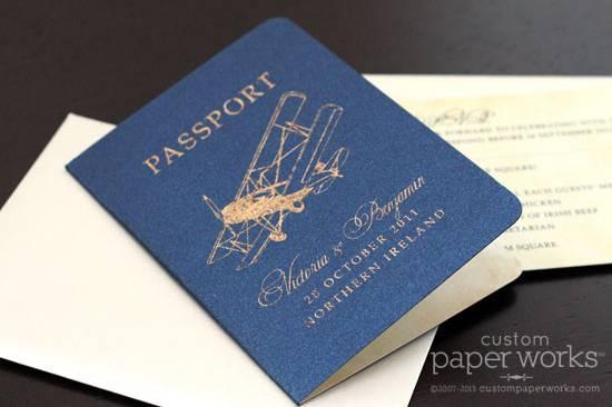Vintage airplane passport invitations - unique antiqued foil technique. By Custom Paper Works www.custompaperworks.com