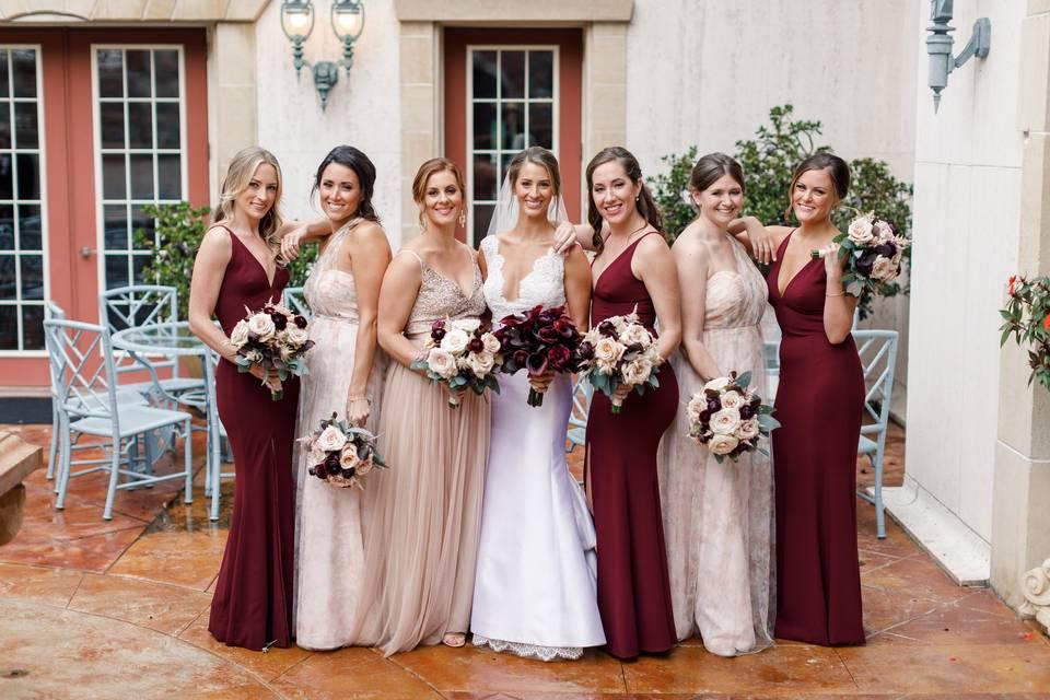Burgundy and blush bridesmaids
