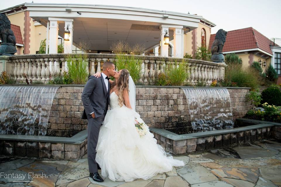 Bride and groom waterwalls