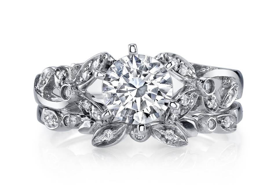Adore engagement ring and band