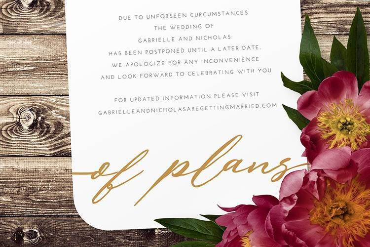 Change of plans card
