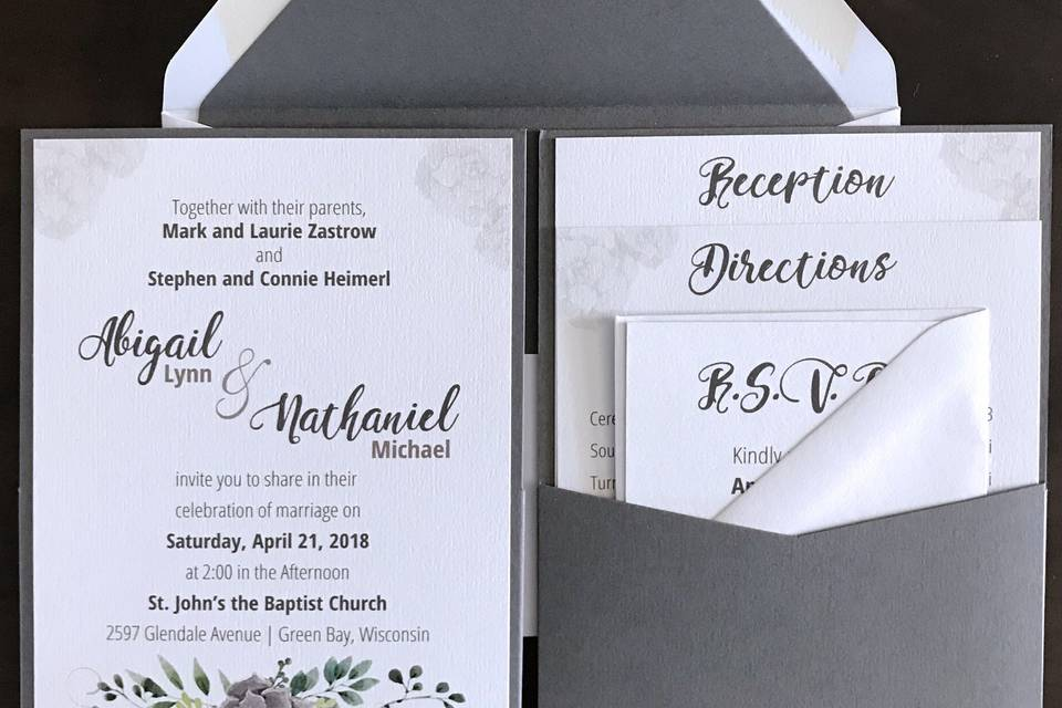 Watercolor Invitations Gray