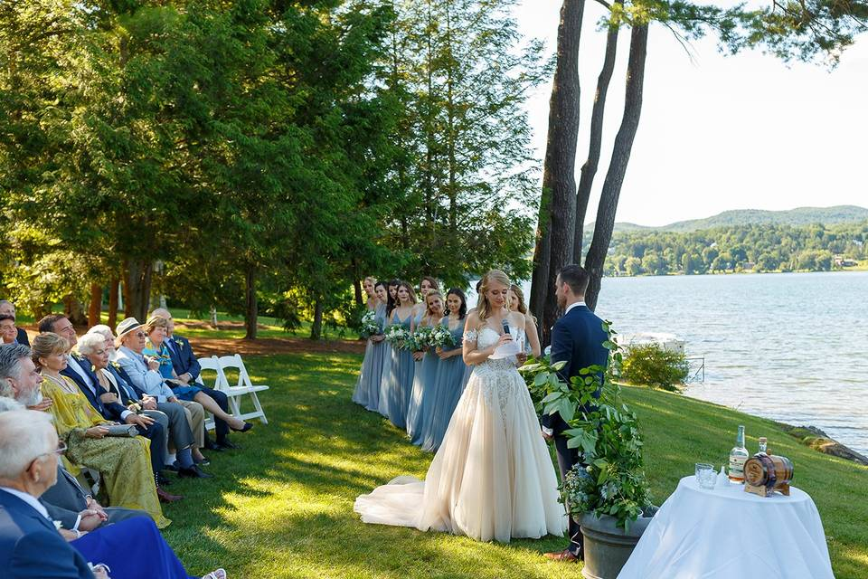 A summer wedding by lake