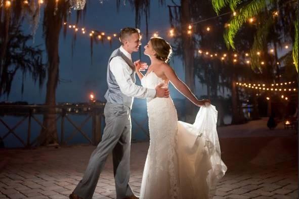 Paradise cove wedding with market lighting