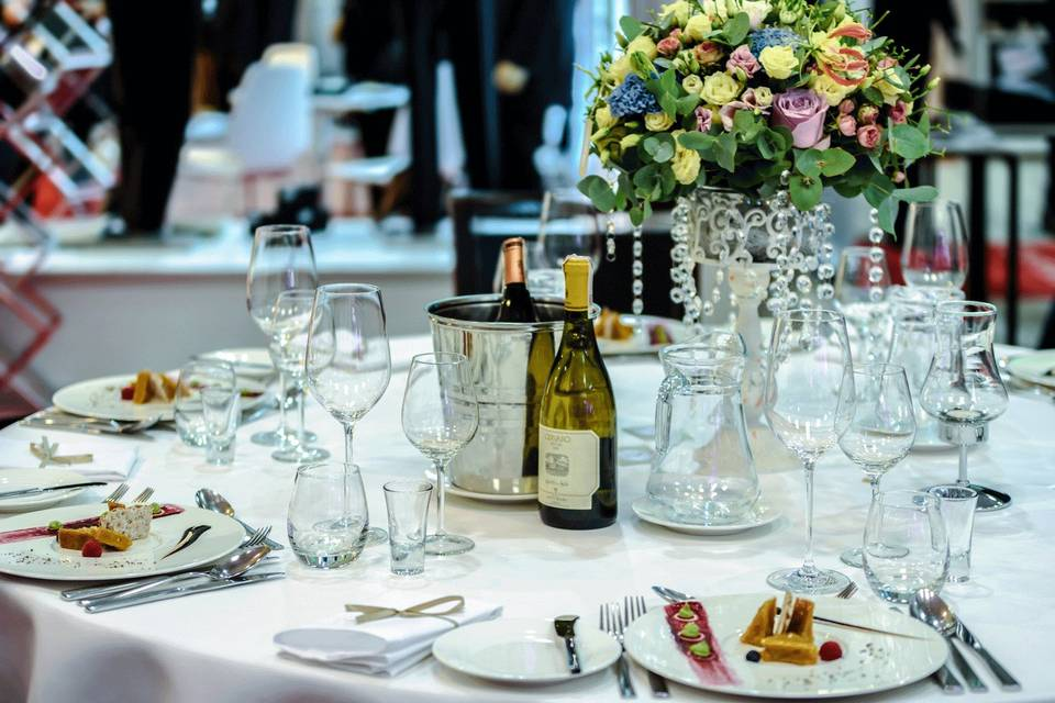 Table setup with bottled wine