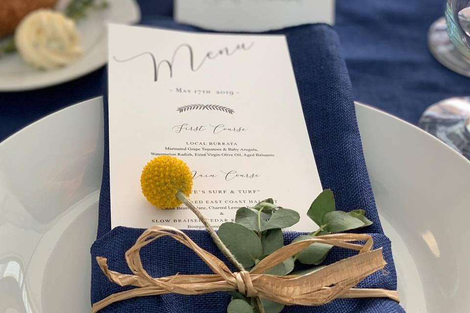 Elegant menu setting