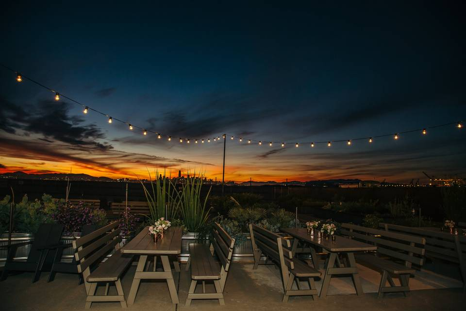 Sunset view over patio