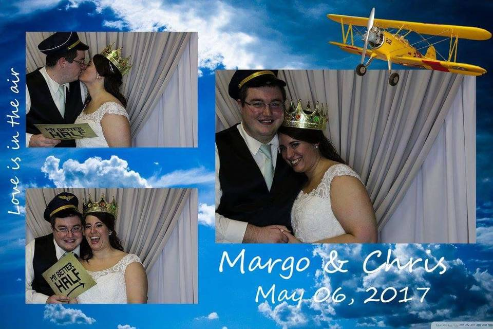 Newlyweds wearing a hat and crown