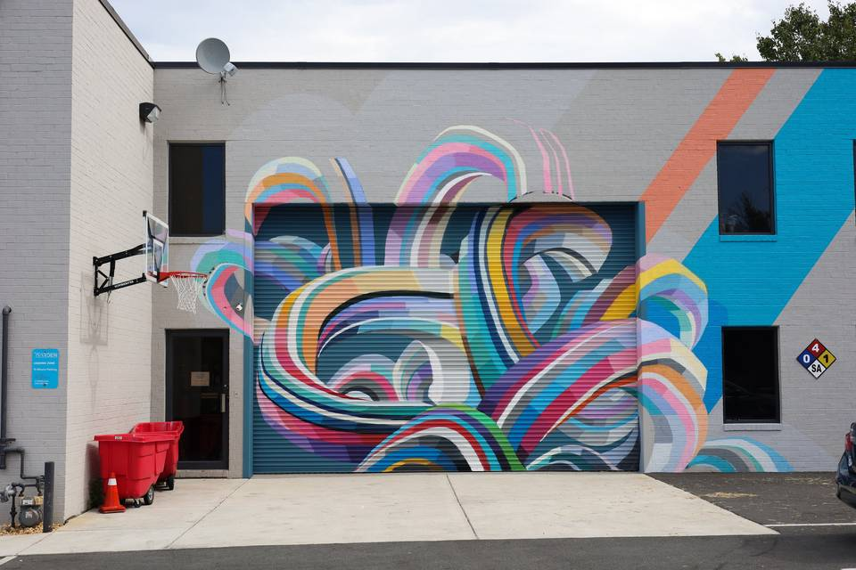 A mural on the building