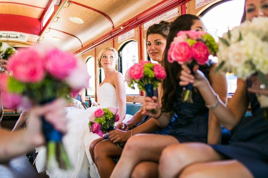 Bride and her ladies in trolley