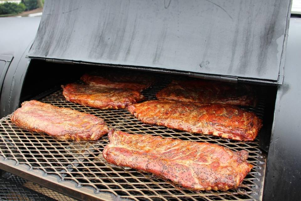 St. Louis style pork ribs on the Lang smoker
