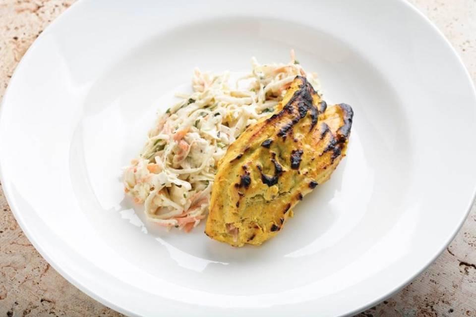 Indian slaw with achari chicken