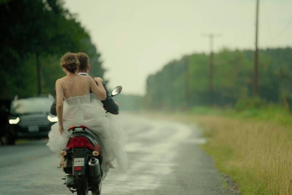 Ellie & Evan on a motorcycle