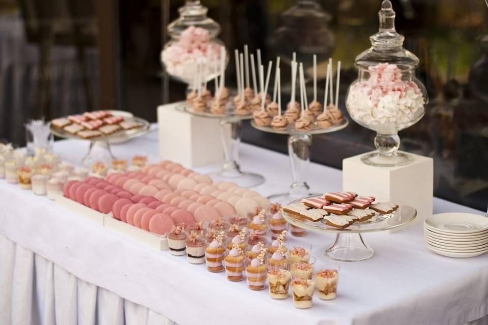 Pink gold white dessert table