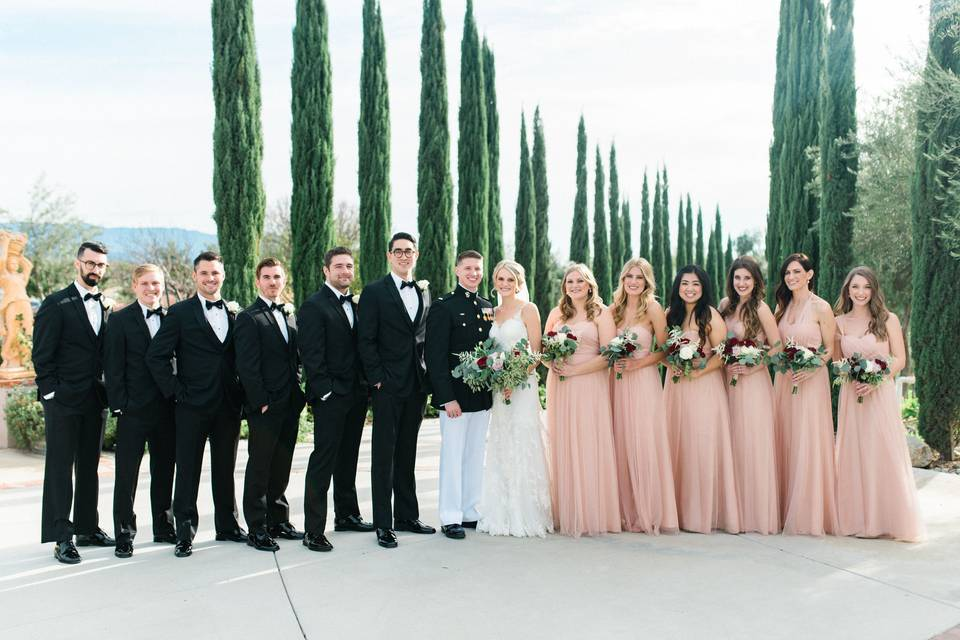 The couple and their wedding party