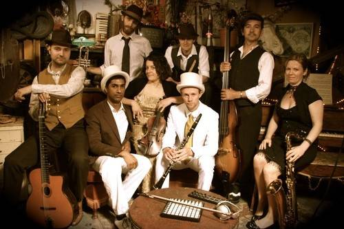 8 Piece Electro Swing Band Ref: ELS 1926 This Electro Swing dance band collides vintage 30's and 40's big band and Gypsy Swing with live-mixed beats - a footstomping recipe of soaring hot-swingin' licks, driving swing-scat vocals, and vintage harmonies that creates the fully-charged and irresistible sound of live Electro Swing. For more details use the following link: http://bit.ly/KTtoS6
