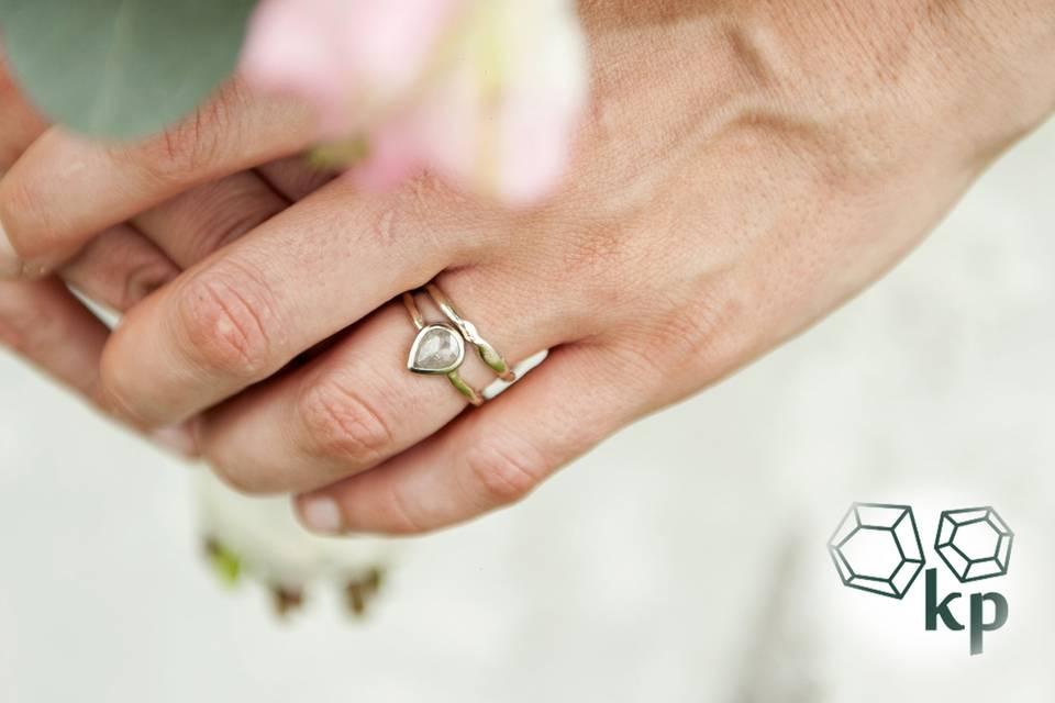 Custom diamond ring + band