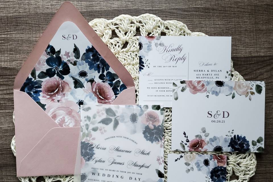 Floral Vellum Invitation