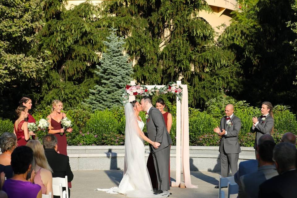 Glass House ceremony on plaza