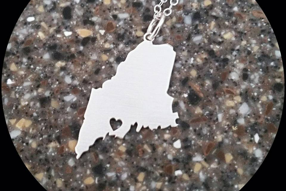 Maine Heart Sterling Silver Necklace