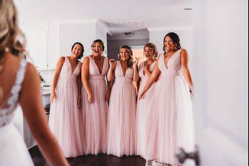 First look with bridesmaids!