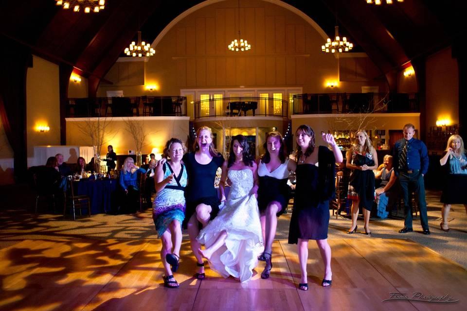 Bride with guests dancing
