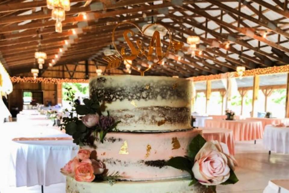 4-tier semi-naked cake