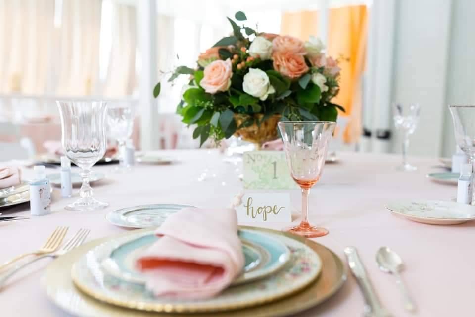Blush table cloth