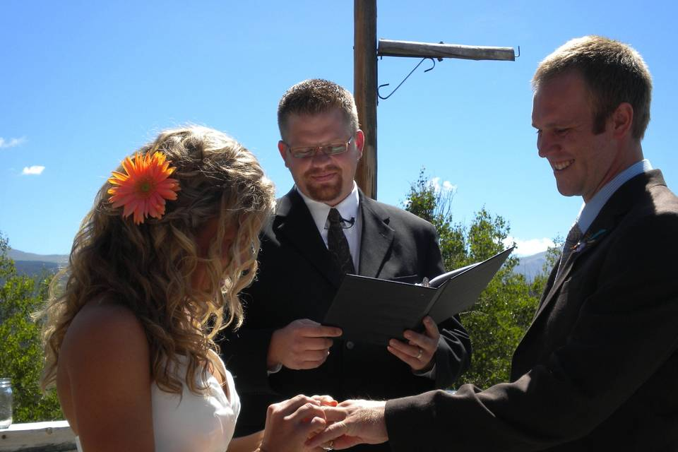 Wedding ceremony under blue Montana skies