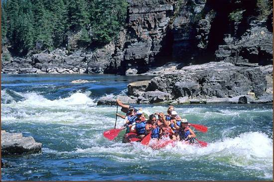 Rafting upstream of lodge