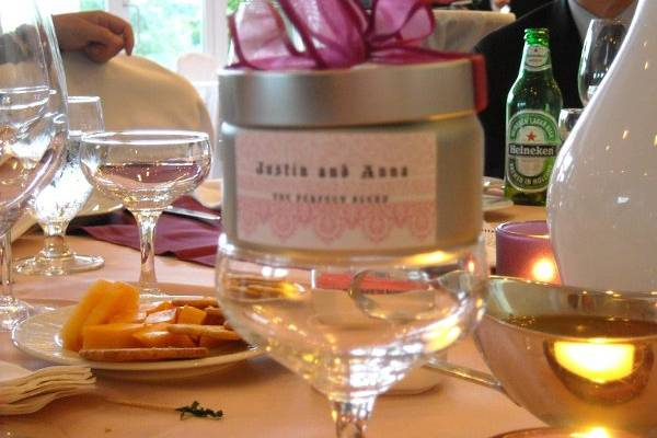 This is an example of a wedding favor developed specifically for a wedding in August, 2009.
