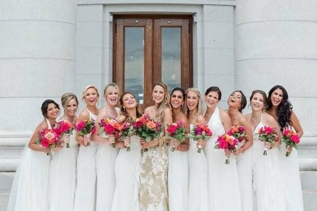 Cheerful bridal party